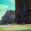 Brick Architecture in Shadow : Milwaukee Cityscape Medium Format Color Film