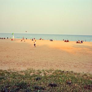 Catch at Bradford Beach County Park : Milwaukee Cityscape Medium Format Color Film