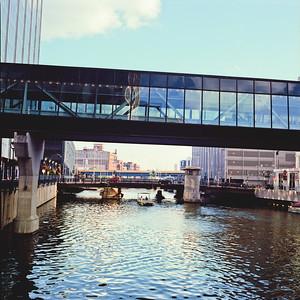 Bridge and Walkway : Milwaukee Cityscape Medium Format Color Film