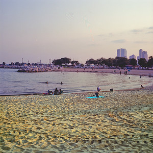 Sundown at the Beach : Milwaukee Cityscape Medium Format Color Film
