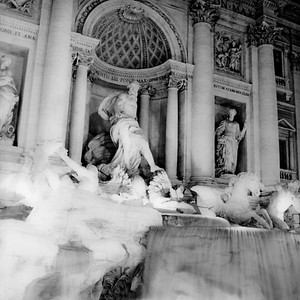 Trevi Fountain at Night in Rome 1:Italy beyond 70mm. Photographs taken on 80mm (Medium format film)