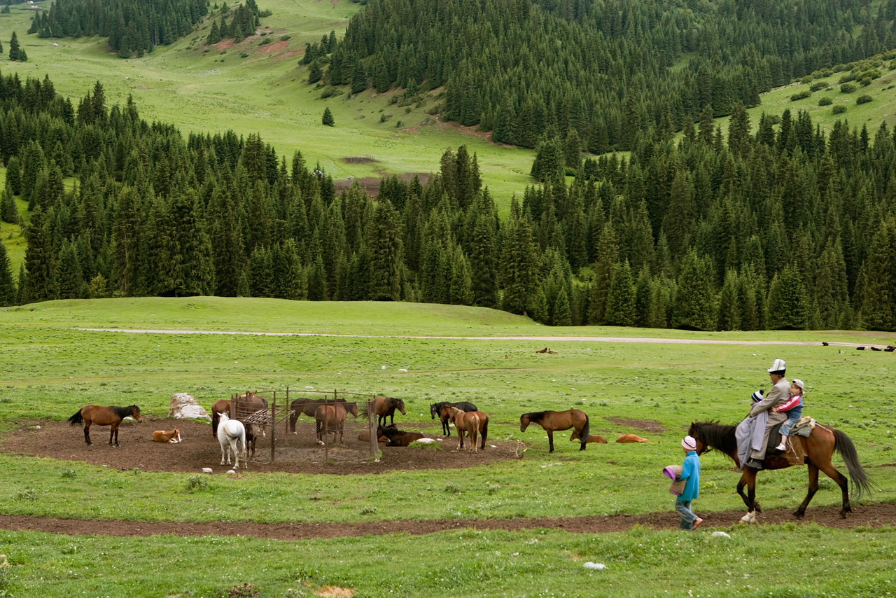 Family and horses. Djeti-Oguz.