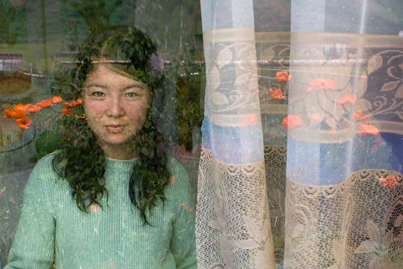 Young girl in window. Djeti-Oguz.