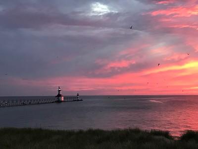 Lighthouse, beach, sunset and dragonflies