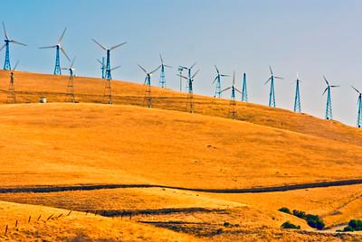 Wind turbines on an array