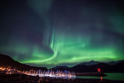 ALASKA 0870  "Aurora over Haines, Alaska"