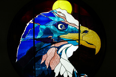 "ALASKA 0950  ""Postal Eagle""  Stained glass eagle in the Homer post office - Homer, AK"