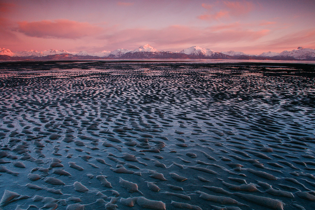 "ALASKA 0428<br /> <br /> ""Low Tide and the Kenai Mountains""<br /> <br /> Homer, AK"