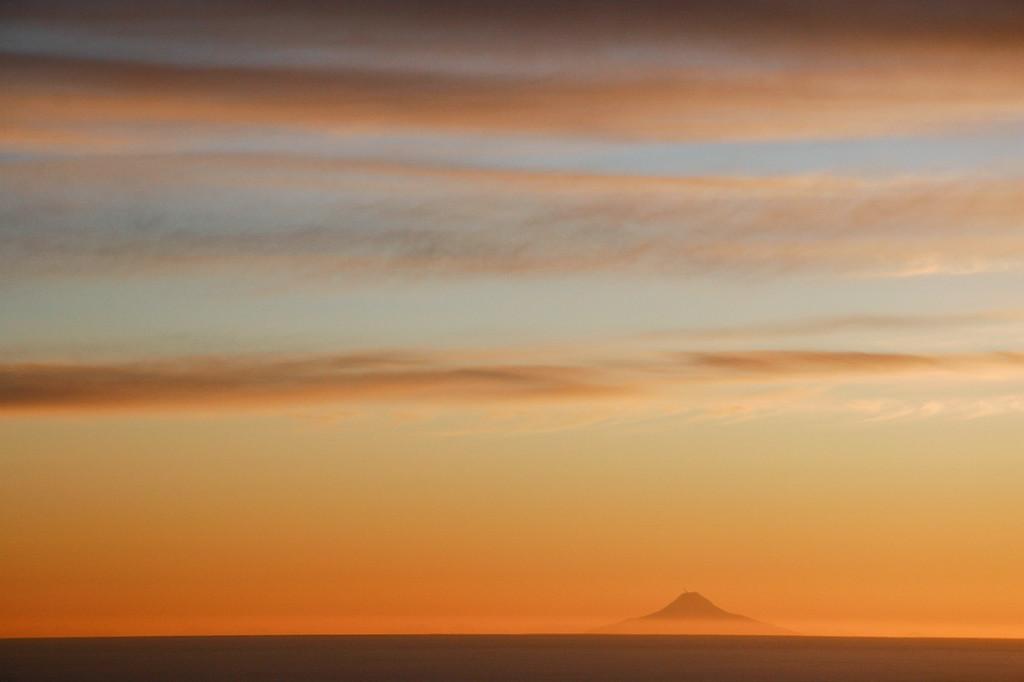 """ALASKA 0100<br /> <br /> """"Sunset over Augustine Volcano""""<br /> <br /> Homer, AK"""