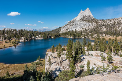 "CALIFORNIA 03484  ""Cathedral Peak and Upper Cathedral Lake""  Yosemite National Park"