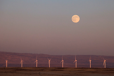 "IDAHO 1239  ""Lunar Wind""  December moon at sunset over a wind farm in southwest Idaho"