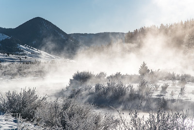 "MONTANA 4736  ""Frosty Morning over the Gallatin River and Black Butte"""