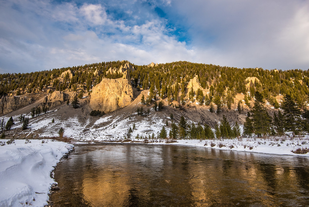 "MONTANA 4562<br /> <br /> ""Happy Thanksgiving from Montana!""<br /> <br /> Sunset light over the Gallatin River between Big Sky and West Yellowstone on Thanksgiving Day 2015."