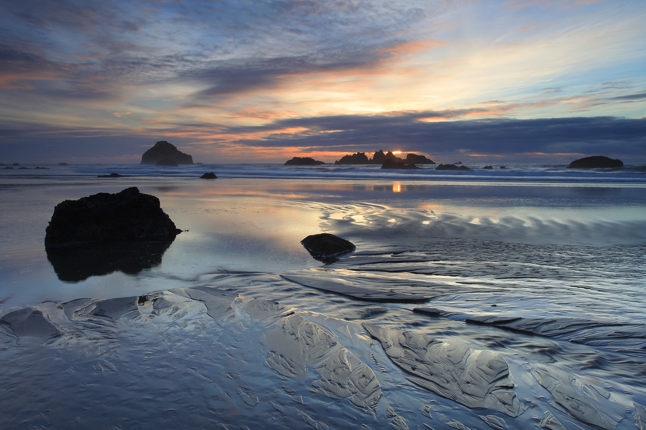 "OREGON 8121  ""Receding tide at sunset, Bandon Beach"""
