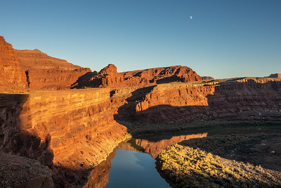 """Moon over Colorado River from Potash Road"""