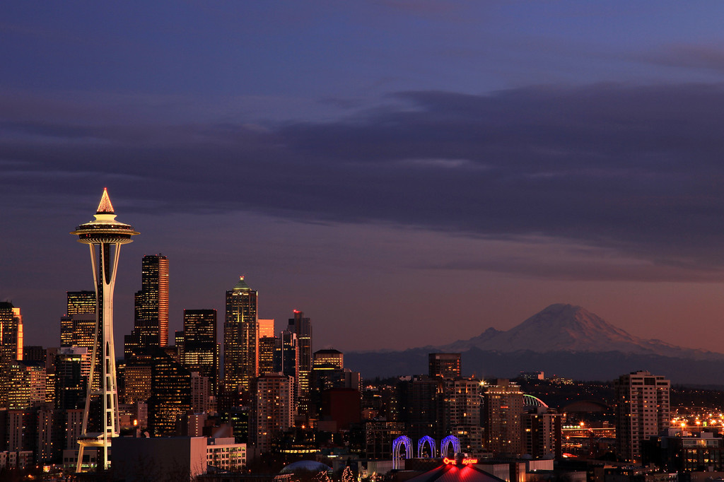 """WASHINGTON 2063<br /> <br /> """"Night comes to the Emerald City""""<br /> <br /> Seattle and Mt. Rainier at dusk from Kerry Park"""