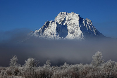 "WYOMING 1083  ""Frosty and foggy winter morning at Mt. Moran""  Grand Teton National Park"