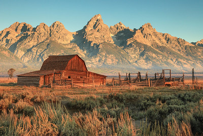 "WYOMING 7388  ""Sunrise on Mormon Row""  Grand Teton National Park"