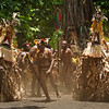 DSC_8376 Only men can perform the traditional Rom Dance, in the village of Fanla on the island of Ambryn. The dance begins with the beating of drums, pounding of feet and chanting by the chief and his men. The pounding of feet sets the ground shaking as the giant tamtam watched over the proceedings. Half the men are naked but for their nambas or penis sheaths, while others were completely hidden beneath masks and cloaks of foliage as they represented various spirits. Ambryn, Vanuatu