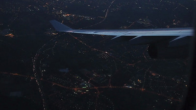 Landing  in Düsseldorf, Germany-an early morning approach to the Düsseldorf airport.