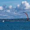 Red Kite Foil Boarder on Bellingham Bay