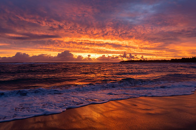Sunrise from Anahola, Kauai, Hawaii on December 4, 2019.
