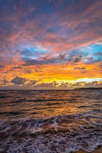 Sunrise from Anahola, Kauai, Hawaii on November 29, 2019.