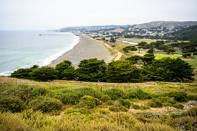 Coastal trails overlooking the Pacifica Pier, near Mori Point and Rockaway Beach in Pacifica, California. July 2018.