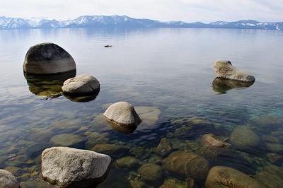 Shoreline near Logan Shoals Vista, Lake Tahoe, Nevada, February 2012.