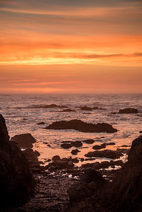 Sunset at Glass Beach, Fort Bragg, California in September 2017.