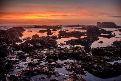 Sunset at Glass Beach, Fort Bragg, California in September 2017.