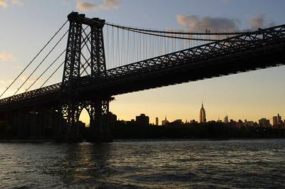 Manhattan Bridge from  Circle Cruise Tour at sunset in June 2010.