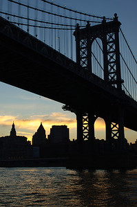 Manhattan Bridge from  Circle Cruise Tour at sunset in June 2010.