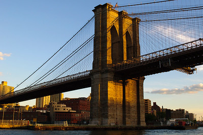 Brooklyn Bridge from  Circle Cruise Tour at sunset in June 2010.