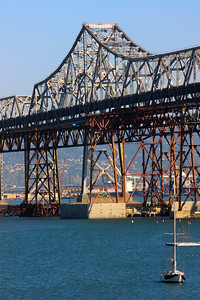 Bay Bridge that spans from Oakland to San Francisco, California. October 2009.