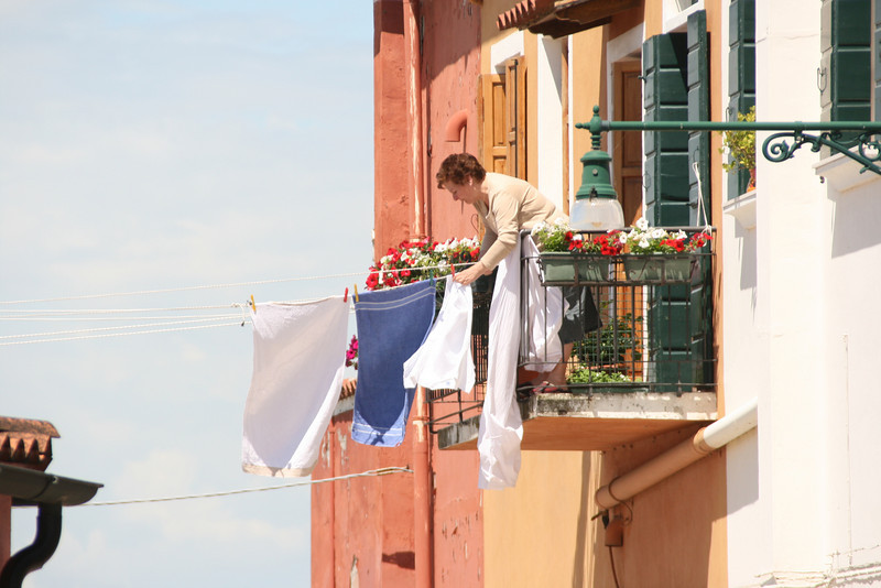 I finally saw one woman taking the laundry in.