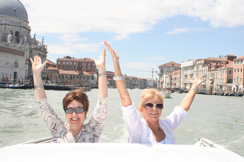 Pat and a fellow National (Dalene Hartshorn) in a water taxi on the Grand Canal.