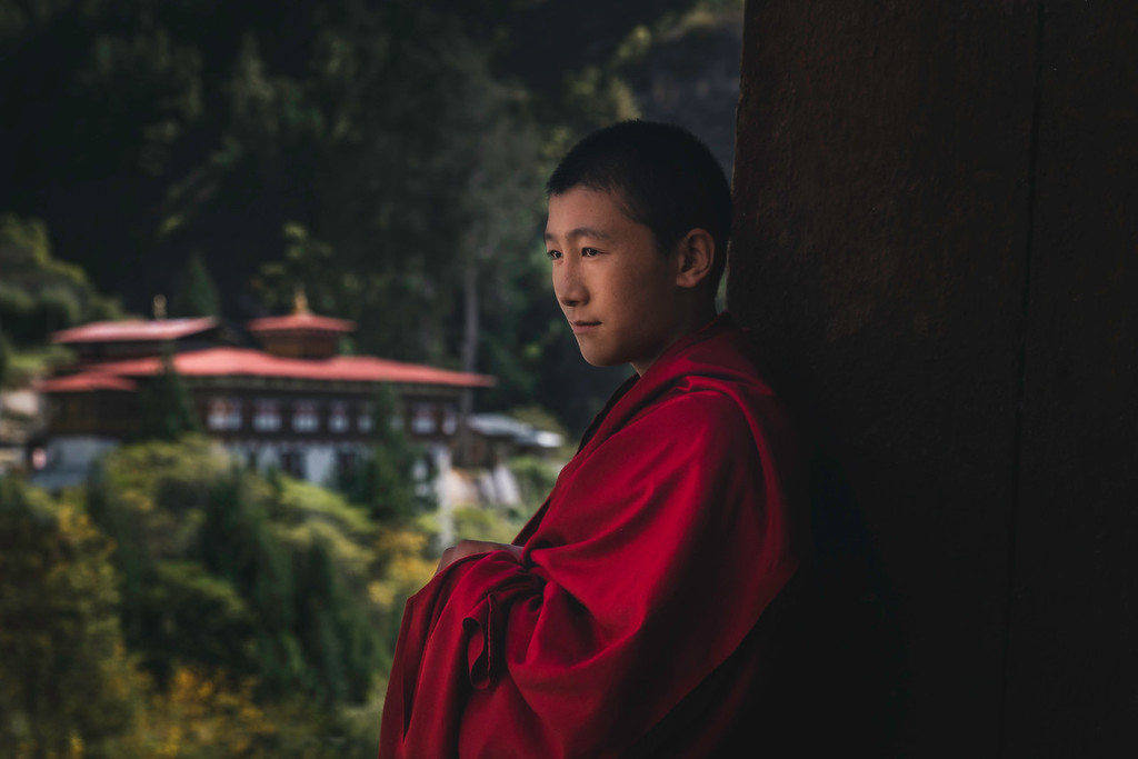 A Child Monk at Ring Tzong in Paro, Bhutan