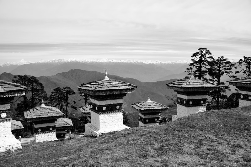 The breathtaking Dochula Pass with 108 stupas and the magnificent Himalayas as a backdrop