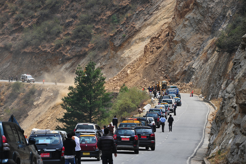 Our travel info said to 'expect the unexpected' - landslide on the way from the airport to Thimphu