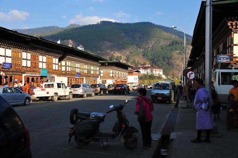 Main street in Paro town