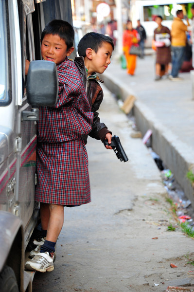 Bhutanese boys like guns
