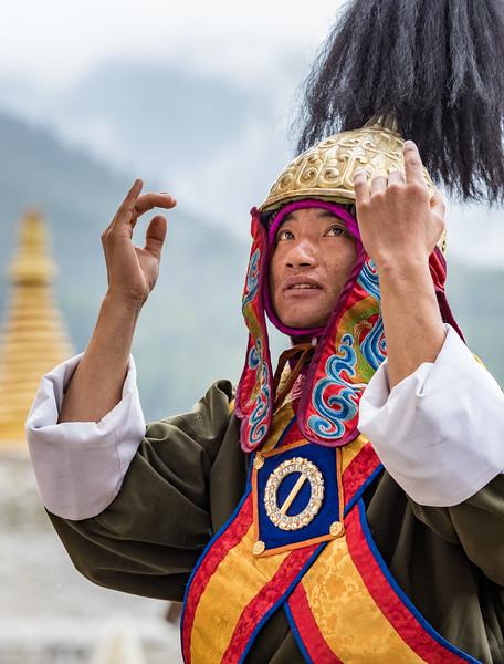 Kurjey Tshechu, Bumthang, Bhutan. A Dochula victory dancer.