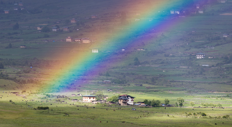Phobjikha Valley, Bhutan. A rainbow over the valley.