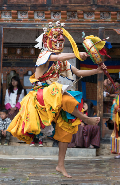 Nimalung Tshechu, Bumthang, Bhutan. In the Drummers from Drametse dance, twelve men wearing animal masks beat handheld drums as they dance. This dance originated in the Drametse Monastery in eastern Bhutan.