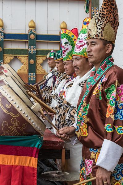 Kurjey Tshechu, Bumthang, Bhutan. The tshechu drum corps.