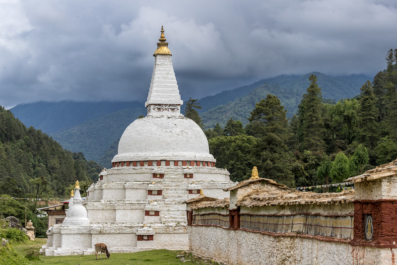 Chendebji Chorten, Bhutan. The main chorten was built in the 19th century by a Tibetan lama in a Nepalese style. In India (and some other countries), a chorten is referred to as a stupa.
