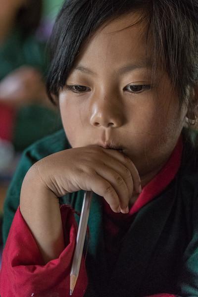 Bayta Primary School, Gangtey, Bhutan. A contemplative student.