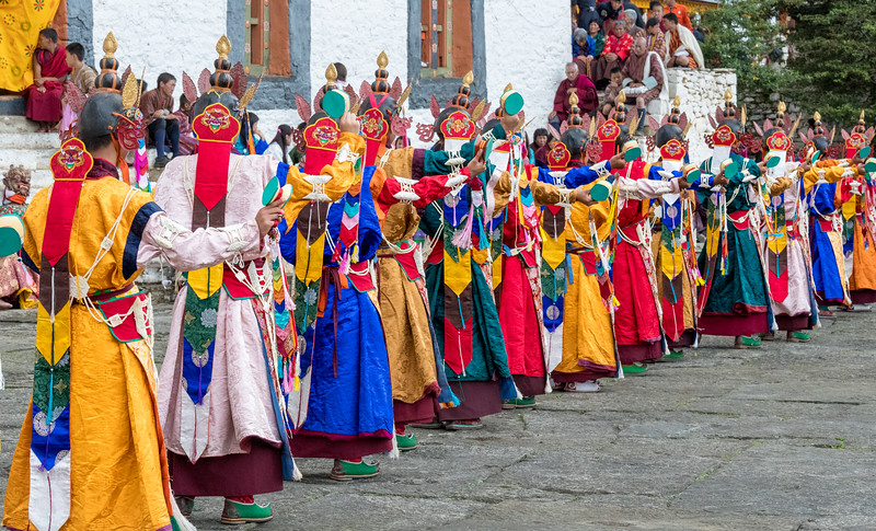 Kurjey Tshechu, Bumthang, Bhutan. The Dance of the Sixteen Fairies (Rigma Chudrug).