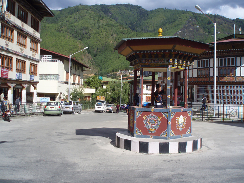 the main intersection in Thimphu - there are no traffic lights, only this kiosk